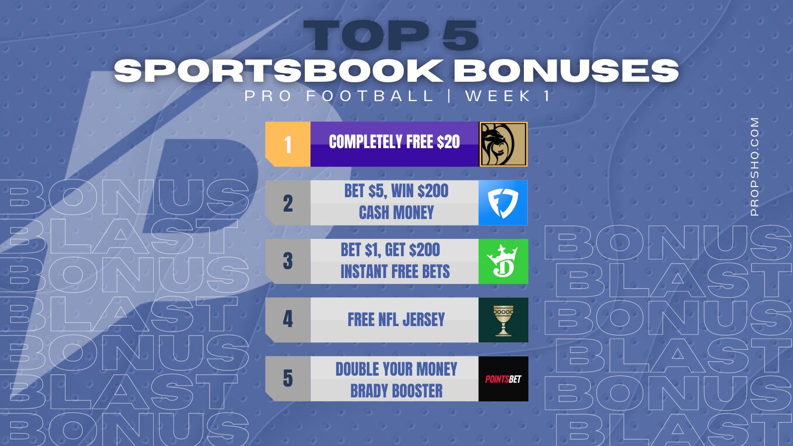 Top 5 Sportsbook Bonuses for 2021 NFL Week 1
